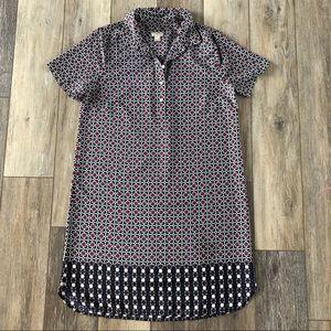 J CREW Patterned Silk Shirt Dress Buttons Mediu